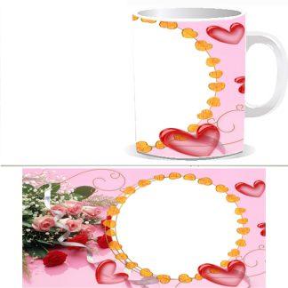 Чашка с фото - Цветы и сердечки W0022S