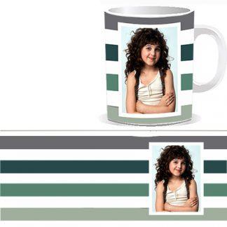 Печать фото на чашках под заказ Киев. Чашка с четырьмя полосками в постельных тонах, и фотографией в белую рамочку. Современный европейский дизайн - минимализм и строгость в сочетании со спокойствием .